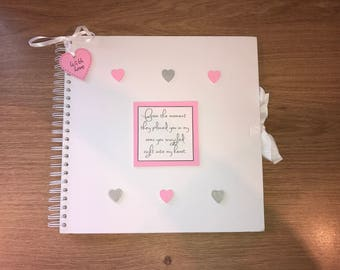 Handmade Personalised Baby Girl Scrapbook / Photo Album / Gift / Memory Book. White with pink and silver embellishments