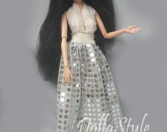 "HandMade Moxie Teenz Clothes, Doll Dress ""silver"", for doll 14"""