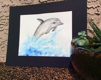 Animal art, Dolphin painting, Nautical wall art, Ocean nursery art, Sea art, Nature painting, Nautical gifts, Coastal art, Beach gifts