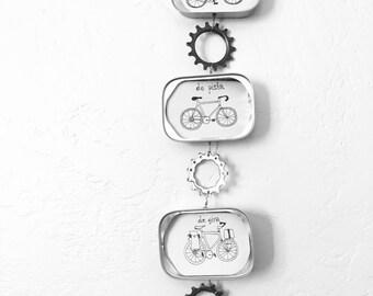 Recycled Sardine Tin Art-Bicycle Drawing-Recycled Bike Part Art-Sardine Tin Frame-Bike Drawing-Bici-Upcycled Bike Part-Recycled Wall Art