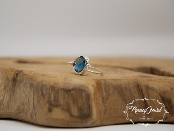 Valentine's gift, romantic ring, silver ring, blu crystal, unique ring, handmade ring, silver plated, made in Italy, not tarnish jewelry