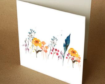 Watercolour Garden Square Greeting Card