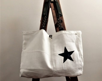 Hemp & linen bag, leather and cotton, leather handles with chain, sac cabas