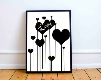 Print Poster - Hearts - Geometric Art Cheap Home Decor Wall Desk Art Digital Art Instant Download Affordable Design Art Print Quality Art
