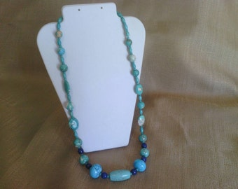 323 Magnesite Turquoise Long Beaded Necklace with Lapis Blue Beads
