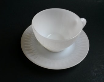 White moonglow  Federal glass cup and saucer, milk glass tea cup and saucer, Federal glass teacup and saucer