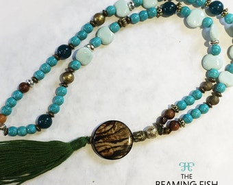 Forest Green Tassel Necklace - Water Forest forest green turquoise beaded jewellery