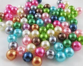 50g 200+pcs Acrylic Pearl Round Craft Beads 8mm Hole 2mm (B044)