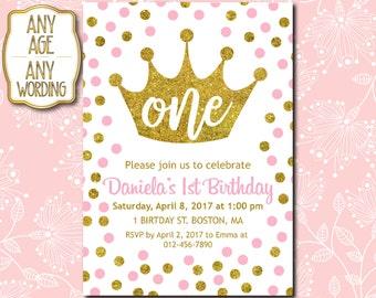 1st Birthday invitation, Princess 1st Birthday Invitation, Crown Invitation, Pink Gold Dots, Girl First Birthday, ANY AGE - 1515N