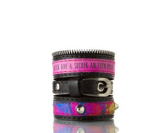 Colours of Life - Dance Punk Bracelet | 3 In 1, Handmade, Genuine Leather, Bracelet, Print, Quote, Pink, Black, Colorful