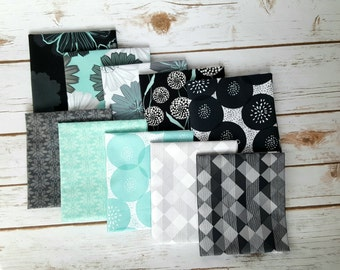Mod About You Fat Quarter Bundle - Teals (10 pcs), Fat Quarter, Quilting Fabric, Teal Fabric, Sewing