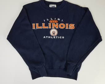 Illinois Fighting Illini Vintage Blue LEE Sport Sweater Shirt | Youth Size Medium | 1990s 90s NCAA Football