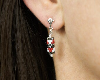 Plug earrings mini | Red graphic