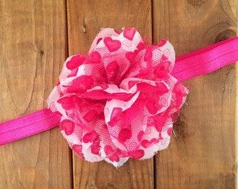 Valentines Day Headband, Hot Pink Heart Headband, Baby Girl Heart Headband, Photo Prop