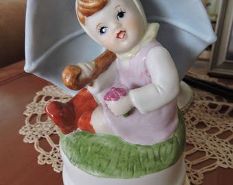 Girl with Umbrella Music Figurine, Some Where Over the Rainbow, Made By Apex, Made in Taiwan , Music Box