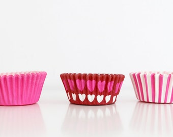 Set of 75 Mini Cupcake Liners in Pink, with Hearts, and Pink and White Stripes