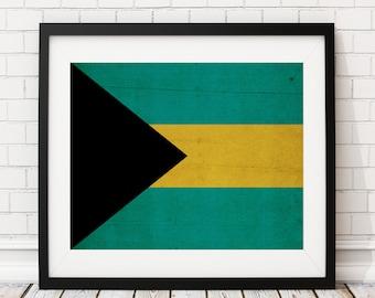 Bahamas Flag Art, Bahamas Flag Print, Flag Poster, Country Flags, Flag Painting, Bahamian Flag, Wall Art, Bahamas Gifts, Wall Art, Rustic