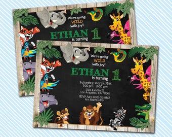 Digital Printable Jungle Animals Birthday Invitation. Zoo Birthday. Boy birthday. Girl Birthday.