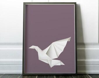 Wall Art, Bird Wall Art, Origami Print, Minimalist Print, Origami Poster, Origami Wall Art, Modern Art, Wall Art Print, Minimalist, Prints