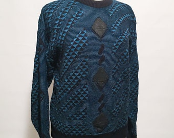 90s Vintage Teal Blue and Black Acrylic Pullover Sweater with 3 Black Leather Diamond Shaped Patches on Front D'Cesare Women's Large