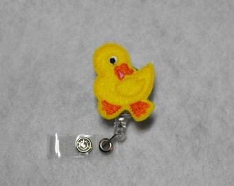Yellow Duck felt badge reel, name badge holder, nurse badge, ID holder, retractable badge clip, feltie badge reel