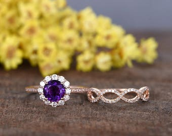 7mm round cut VS natural Amethyst engagement ring set,Floral diamond wedding band,2pcs rings,14k rose gold,moissanite HALO,vintage look ring