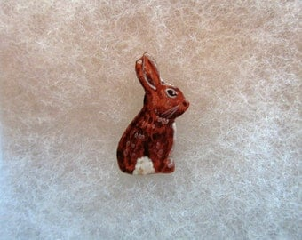 Bunny Rabbit Jewelry Pin - handcarved and handpainted