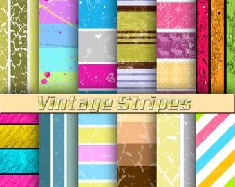 vintage stripes digital paper, vintage background, vintage scrapbook, vintage scrapbook paper