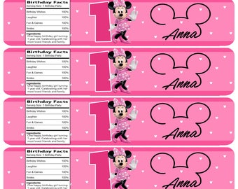 Personalized Minnie Mouse Water Bottle Labels !
