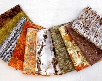 Camouflage Fat Quarter Bundle 10pc.-Winter/White/Snow True Timber Camo/orange trees/oak/birch/brown bark/green grass/chocolate rocks (#O168)