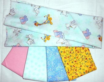 Suzy Zoo Fabric Bundle 1yd mint/pastel green with elephant/giraffe/bunny + (4) 1/2yd cuts of pink/pastel flowers, blue/yellow bows   (#O188)