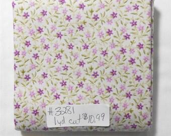 Fabric - 1yd piece- Petals -Floral/Purple/Plum/Dark/Light/tiny lavender flowers light ash background (#3281) Quilting Treasures 1649 23074 K