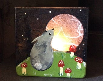 Hand painted 8cm square glass tea light holder. A frosty night with moon gazing critter