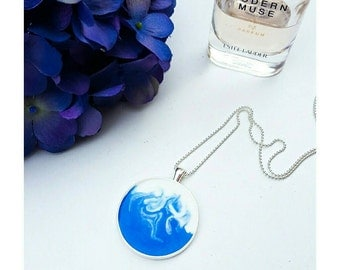 Blue swirl resin pendant and ball chain