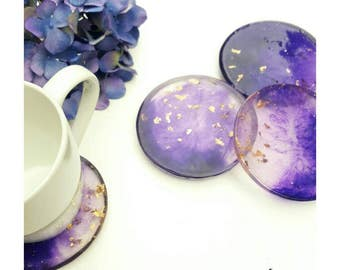 Purple resin coasters