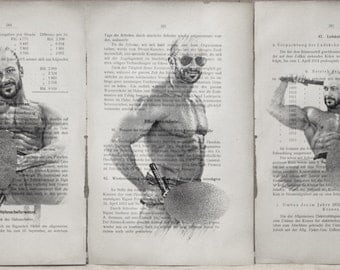 Gay erotic poster  / muscular mens nude body  / 3 pages printing Antique 1914  German book  decor interior picture ART erotic