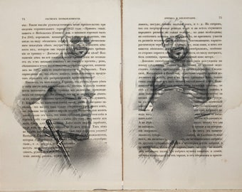 Erotic Gay poster  / Muscular men  / nude   mens  / 2 pages Printing Antique  book  decor interior picture ART erotic souvenir