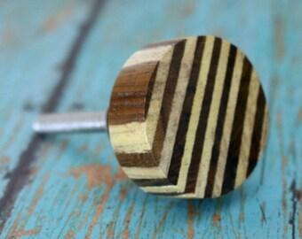 Round Wooden Stripe Cabinet Knob