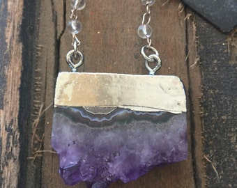 Amethyst Slice Pendant  16in Necklace/Raw Amethyst