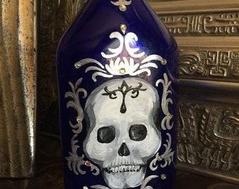 Hand Painted Skull Bottle