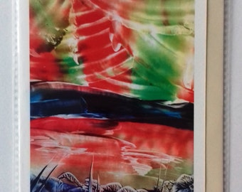 Northern lights encaustic wax painting print greetings card