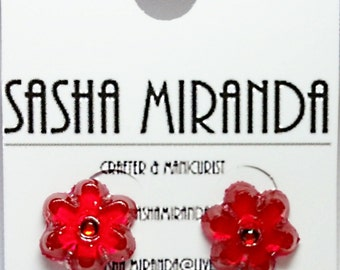 Transparent Colored Flower Earrings