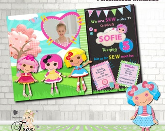Lalaloopsy Birthday Invitation, Lala Birthday Invitation,Lalaloopsy,Girl Birthday Invitation,Lalaloopsy Invitation,Lalaloopsy Birthday,Girl
