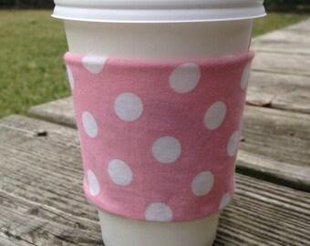 Coffee cozy - pink polka dot