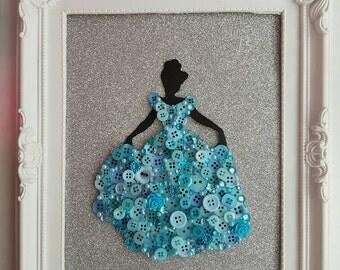 Handmade Disney Inspired Princess Cinderella Framed Button Picture Art