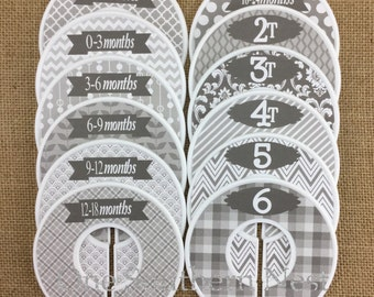 Closet Dividers, Baby Shower Gift, Newborn Baby Gift, Infant, Baby, Toddler, Child, size dividers. Suitable for girl or boy. Grey and white.