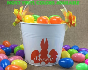 Small, Medium, or Large personalized Easter basket, Easter bucket, Easter pail for a girl or boy. Most vinyl colors available.