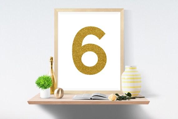 Printable Art, Number 6, Gold, Art Prints, Wall Art, Art Print, Wall Prints, House Number, Table Printable, Instant Download, Modern Art