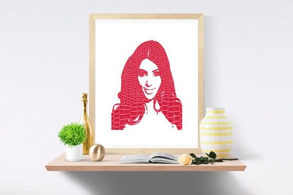 Kim Kardashian, Kanye West, Kardashian, Snake Skin, Pink Print, Pink Prints, White Print, White Prints, Wall Art, Art Print, Printable Art