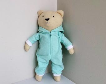 Stuffed Bear, Plush Bear, Stuffed Animal, Teddy Bear in Onesie Pajamas, Modern Toy, named Darcy